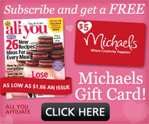 Michaels Gift Card Deal - all you subscription for 9 96 free 5 michaels gift card exp 2 17