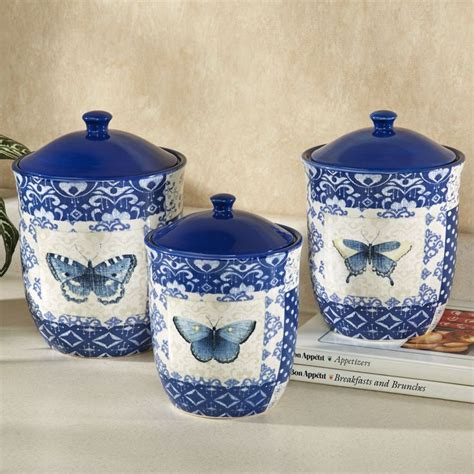 canisters interesting blue ceramic canisters vintage