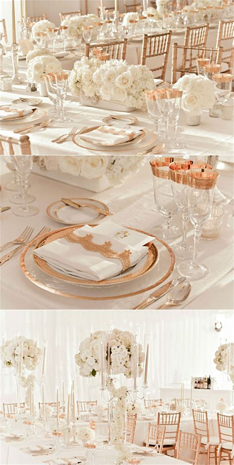 rose gold and ivory wedding reception decor The pic on top