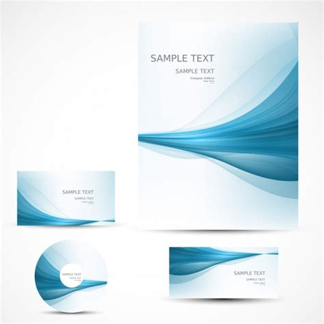 business letterhead with blue waves business stationery with blue waves vector free