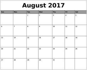 august 2017 calendar ms word