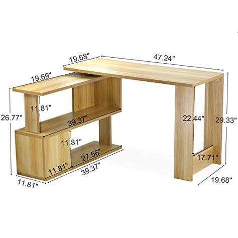 study table l tribesigns modern l shaped desk rotating computer desk pc