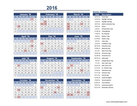 Calendars With Us Holidays 2016 Calendar With Us Holidays When Is Calendar