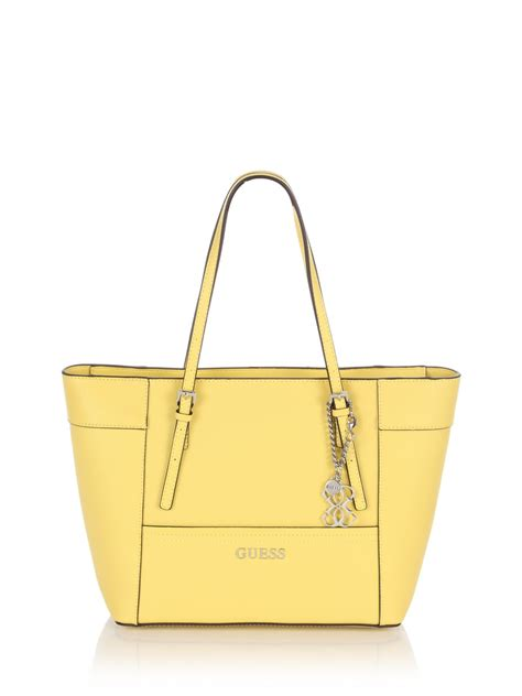 Tas Guess Delaney Mini Original Bag guess delaney small classic tote bag in yellow lyst