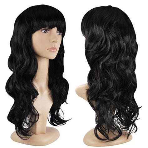 hair wigs women s fashion wig curly hair wigs with bangs black long