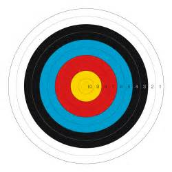 The recurve target is 122cm in diameter with a 10 ring 12 2cm in