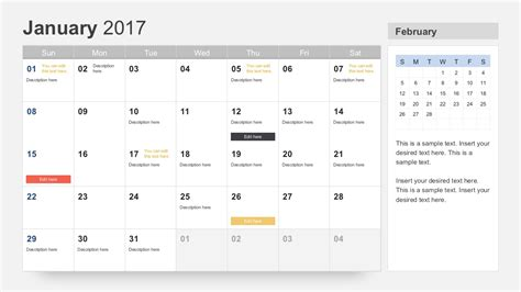powerpoint template calendar free calendar 2017 template for powerpoint