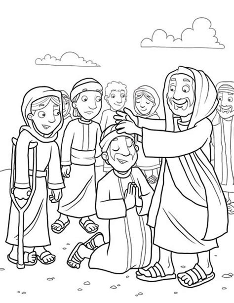 sunday school coloring pages jesus heals the sick heals the sick because miracles of jesus coloring page