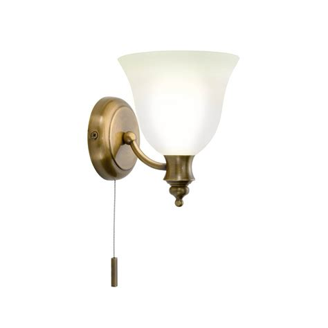 Edwardian Bathroom Lighting Traditional Antique Brass Period Wall Light With Pull Switch