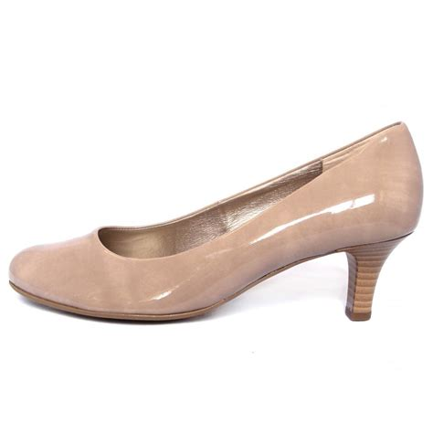 heeled shoes gabor shoes vesta kitten heel court shoe in beige