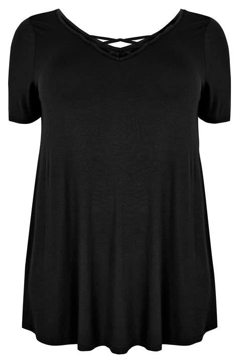 Tshirt Cross B C black jersey t shirt with cross straps plus size 16