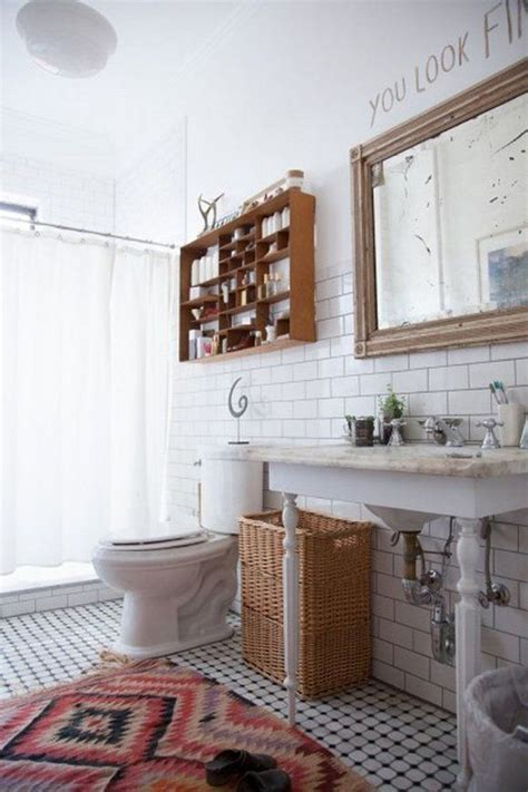 bright bohemian bathroom home details