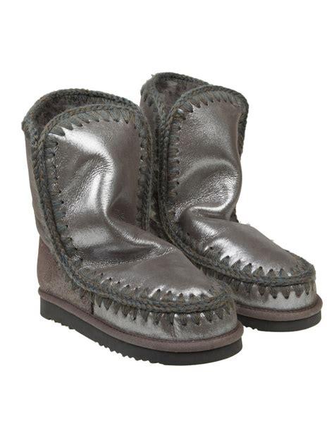 mou boots mou quot eskimo 24 quot metallic shearling boots color taupe fur