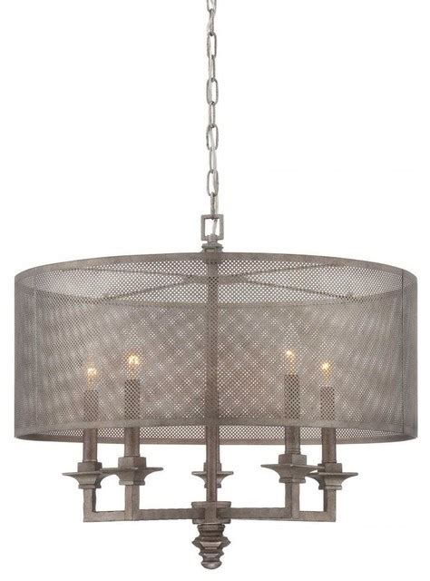 Metal Drum Chandelier Five Light Metal Mesh Shade Aged Steel Drum Shade Chandelier Contemporary Chandeliers By