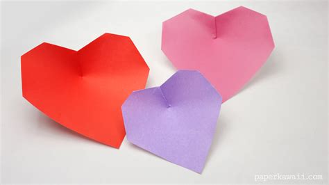 Simple Origami Hearts - easy origami paper kawaii
