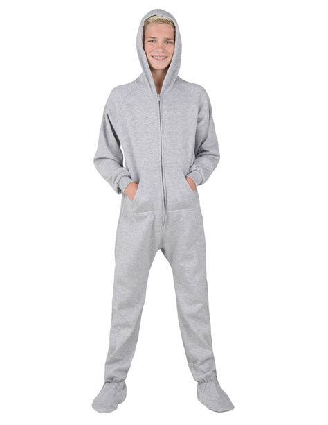 laid back gray hooded footed pajamas