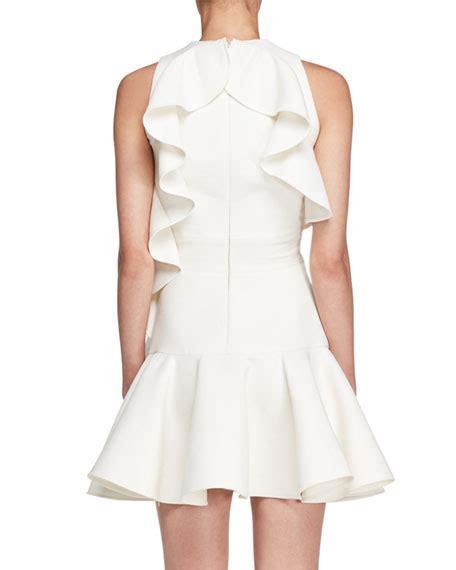 Ruffle Trim Sleeveless Dress mcqueen sleeveless ruffle trim scuba dress ivory