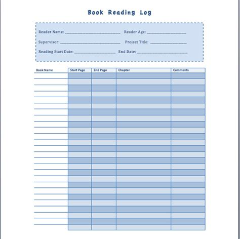 book reading log template book reading log template format template