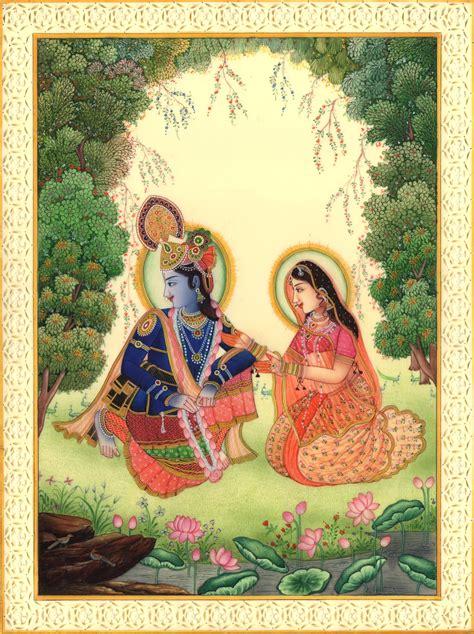 Handmade Paintings Of Radha Krishna - krishna radha spiritual handmade contemporary hindu