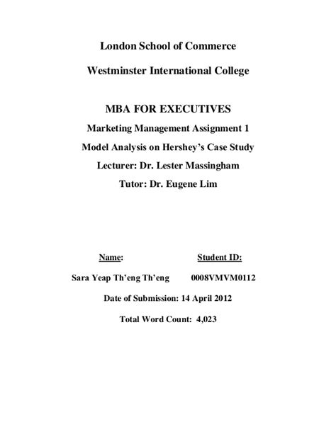 Mba For Executives Lsc by Model Analysis On Hershey S Study