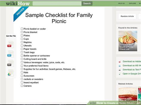Checklist Of Things You Need For A Picnic by 3 Ways To Create A Picnic Check List Wikihow