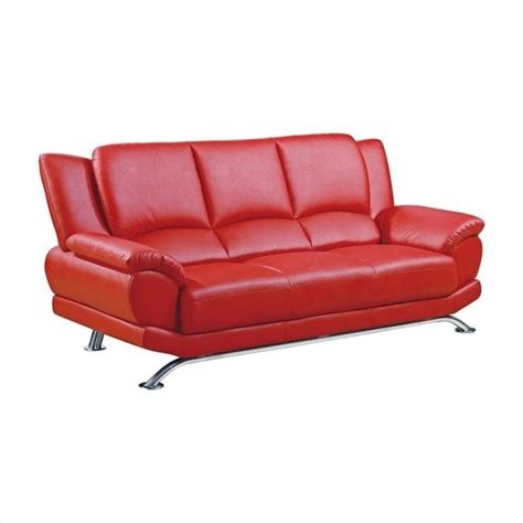 global furniture leather sofa with chrome legs in