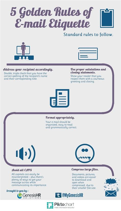 5 Golden Rules Of E Mail Etiquette Email Marketing Infographic Repinned By Piktochart Infographic Email Template
