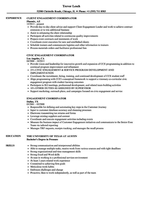 engagement coordinator resume sles velvet jobs