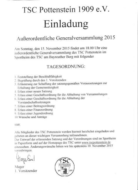 Muster Einladung Zur Jahreshauptversammlung Verein Aktuelles Tsc Pottenstein