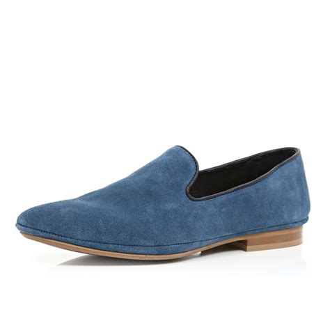 river island blue suede leather slip on shoes in blue for