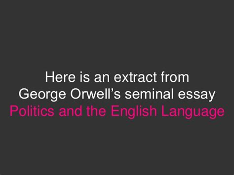 politics and the language thesis politics and language essay