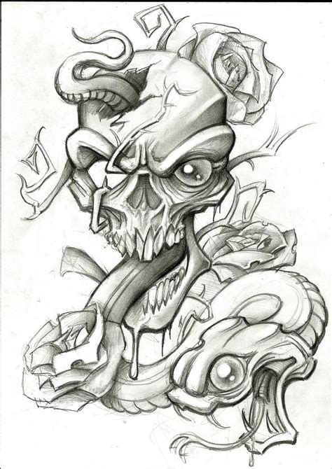 skull rose snake tattoo snake and skull by stephcand on deviantart