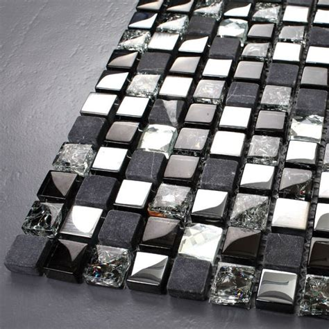 black white grey mosaic ceramic backsplash tile with tst glass stone tiles black dark grey squared grid marble