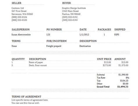 sle invoice usa sales invoice tracker office templates
