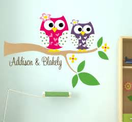 Owl Wall Art Stickers Owl Wall Decal Name Wall Decal Childrens Wall By Lucylews