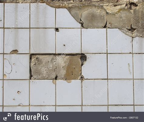 texture damaged white tile wall stock picture i2607132