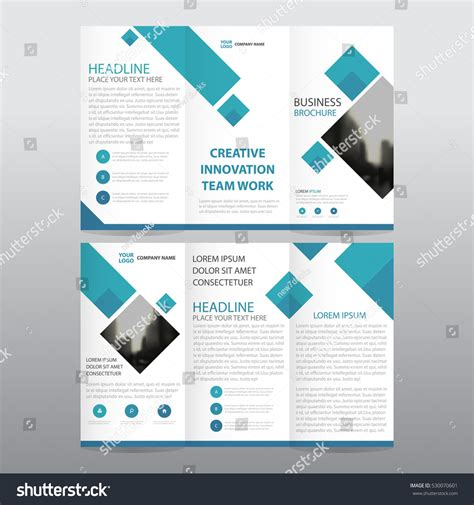 Blue Square Business Tri Fold Leaflet Stock Vector 530070601 Shutterstock A4 Size Tri Fold Brochure Template