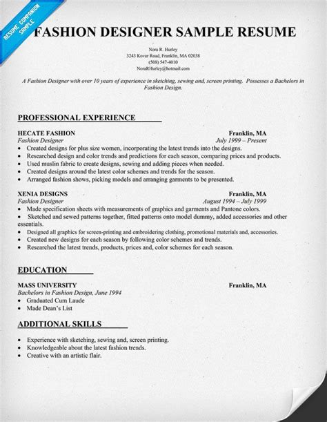 fashion designer resume sle resumecompanion resume sles across all industries