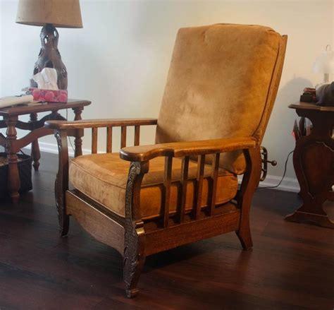 morris reclining chair antique antique reclining morris chair excellent outside