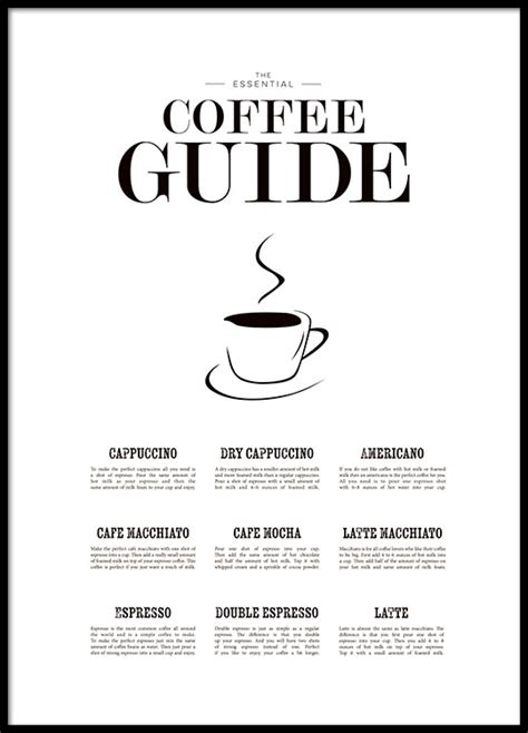 kitchen art poster with coffee guide poster desenio