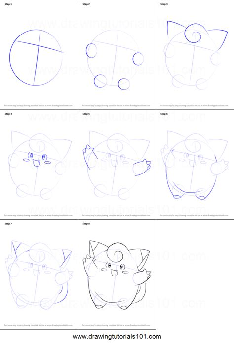 doodle drawing tutorials how to draw clefairy from printable step by step
