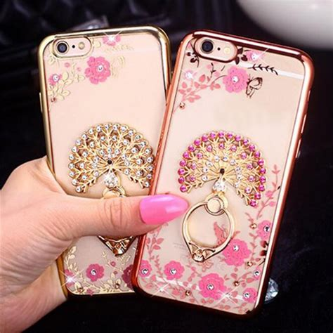 Softcase Flower Ring Stand For Iphone 7 bling for samsung s5 s6 s7 edge note 4 5 capa for iphone 5s 6 6s 7 plus fundas