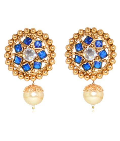 moshiv blue and gold designer stud earrings buy moshiv