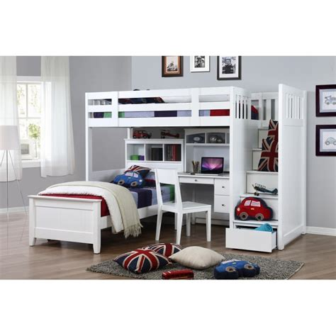 white loft bed with trundle unifying woods