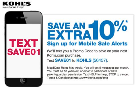 Coupons On Your Mobile Phone by Receive Kohl S Coupons Via Text Messaging