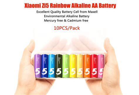 Original Xiaomi Zi5 Rechargable Alkaline Aa Battery Murah xiaomi zmi zi5 rainbow alkaline lr6 aa battery multi colored 10pcs free shipping dealextreme