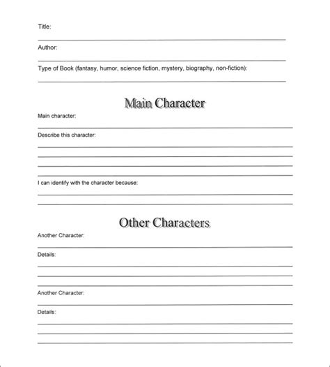 novel notes template 7 book summary templates sles exles format