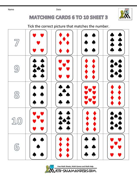 printable playing cards without numbers pre k math worksheets matching 6 to 10