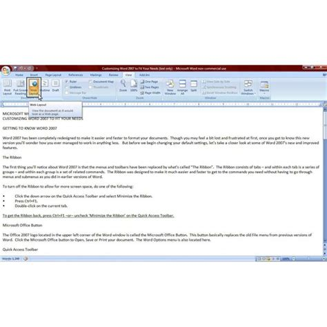 web layout in ms word 2007 how to view your word 2007 documents for better functionality