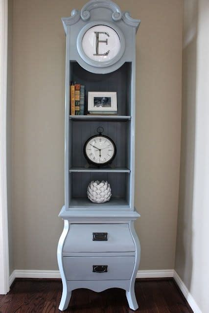 grandfather clock reporposed as a shelf trash to